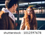 young amazing woman with long... | Shutterstock . vector #1012597678