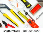 different construction tools... | Shutterstock . vector #1012598020