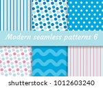 polka dot  strips wave seamless ... | Shutterstock .eps vector #1012603240