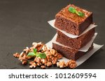 chocolate brownie square pieces ... | Shutterstock . vector #1012609594
