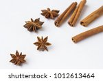 spices  star anise and cinnamon ... | Shutterstock . vector #1012613464