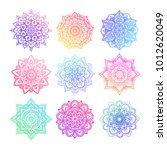 Set Of Round Gradient Mandala...