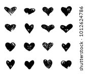 hearts icons hand drawn set... | Shutterstock .eps vector #1012624786