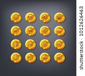 set of golden coins or reward... | Shutterstock .eps vector #1012626463