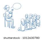 happy woman  teacher  nurse or... | Shutterstock .eps vector #1012630780