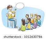 happy woman  teacher  nurse or... | Shutterstock .eps vector #1012630786