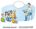 happy man  teacher  nurse or... | Shutterstock .eps vector #1012630789