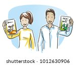 two teachers  parents or... | Shutterstock .eps vector #1012630906