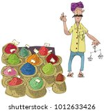 a street vendor sels indian... | Shutterstock .eps vector #1012633426