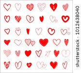 set of hand drawn red hearts.... | Shutterstock .eps vector #1012638040