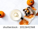 overhead of cream cheese... | Shutterstock . vector #1012641568