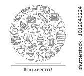 meals theme horizontal banner.... | Shutterstock .eps vector #1012643224