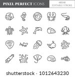 marine theme pixel perfect thin ... | Shutterstock .eps vector #1012643230