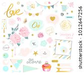set of cute pink and gold... | Shutterstock .eps vector #1012647256