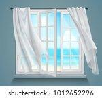 open window with billowing... | Shutterstock .eps vector #1012652296