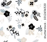 elegant handdrawn floral trendy ... | Shutterstock .eps vector #1012656520