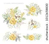 arrangements with yellow... | Shutterstock .eps vector #1012658830