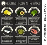 six healthiest foods in the... | Shutterstock .eps vector #1012659790