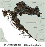 high detailed croatia road map... | Shutterstock .eps vector #1012661620