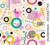 retro seamless 1980s inspired... | Shutterstock .eps vector #1012667743
