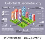 city isometric colorful 3d... | Shutterstock .eps vector #1012669549