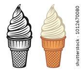 ice cream two style monochrome... | Shutterstock .eps vector #1012670080