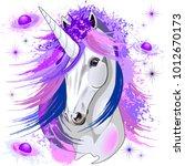 unicorn spirit pink and purple... | Shutterstock .eps vector #1012670173