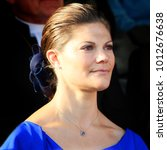 Small photo of OREBRO, SWEDEN - AUGUST 21, 2010: The crown princess Victoria of Sweden during the Bernadotte celebration in Orebro, Sweden