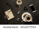 black messy cafe table   empty... | Shutterstock . vector #1012677514