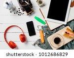 modern white wooden desk with... | Shutterstock . vector #1012686829