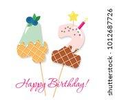happy birthday card. festive... | Shutterstock .eps vector #1012687726