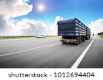 rear view of the big truck... | Shutterstock . vector #1012694404