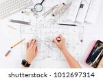 architect drawing architectural ... | Shutterstock . vector #1012697314