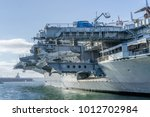 Small photo of USA, CA - OCT 22, 2016 - USS Midway aircraft carrier with Aircraft elevatorat San Diego