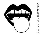 mouth tongue out vintage emblem | Shutterstock .eps vector #1012722436