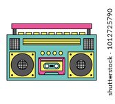 retro stereo cassette player... | Shutterstock .eps vector #1012725790