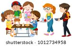 children having lunch on table... | Shutterstock .eps vector #1012734958