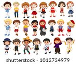 different characters of boys... | Shutterstock .eps vector #1012734979