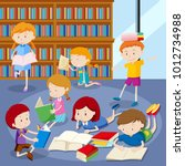 many students reading books in... | Shutterstock .eps vector #1012734988