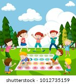 children playing game in the... | Shutterstock .eps vector #1012735159