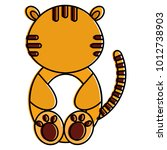 cute and tender tiger character | Shutterstock .eps vector #1012738903