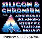 an eighties style chrome 3 d... | Shutterstock .eps vector #1012739506