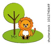 cute and tender lion in the... | Shutterstock .eps vector #1012740649