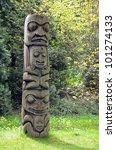 Weathered Totem Pole In Pacifi...