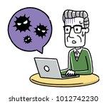 senior male  pc  virus ... | Shutterstock .eps vector #1012742230