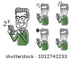 senior male  smartphone  set ... | Shutterstock .eps vector #1012742233