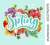 spring text with blossom... | Shutterstock .eps vector #1012742470