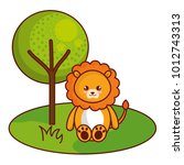 cute and tender lion in the... | Shutterstock .eps vector #1012743313