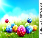 colorful easter background with ... | Shutterstock .eps vector #1012747588