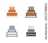 birthday cake icon vector | Shutterstock .eps vector #1012748863